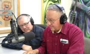 Merritt Youngdeer and Rick Russell are guest announcers at a station of the Rosebud reservation.